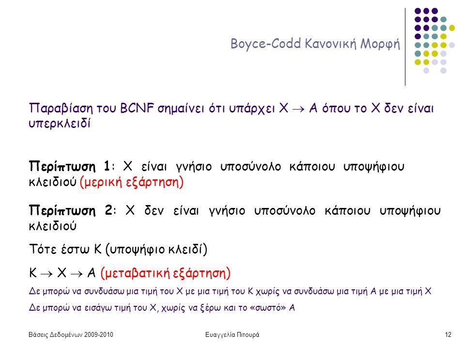 Βάσεις Δεδομένων 2009-2010Ευαγγελία Πιτουρά12 Boyce-Codd Κανονική Μορφή Παραβίαση του BCNF σημαίνει ότι υπάρχει X  A όπου το Χ δεν είναι υπερκλειδί Περίπτωση 1: Χ είναι γνήσιο υποσύνολο κάποιου υποψήφιου κλειδιού (μερική εξάρτηση) Περίπτωση 2: Χ δεν είναι γνήσιο υποσύνολο κάποιου υποψήφιου κλειδιού Τότε έστω Κ (υποψήφιο κλειδί) Κ  Χ  Α (μεταβατική εξάρτηση) Δε μπορώ να συνδυάσω μια τιμή του Χ με μια τιμή του Κ χωρίς να συνδυάσω μια τιμή Α με μια τιμή Χ Δε μπορώ να εισάγω τιμή του Χ, χωρίς να ξέρω και το «σωστό» Α