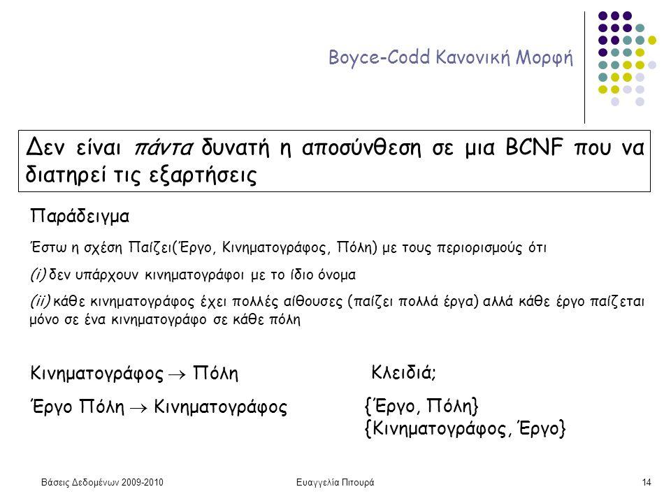 Βάσεις Δεδομένων 2009-2010Ευαγγελία Πιτουρά14 Boyce-Codd Κανονική Μορφή Δεν είναι πάντα δυνατή η αποσύνθεση σε μια BCNF που να διατηρεί τις εξαρτήσεις Παράδειγμα Έστω η σχέση Παίζει(Έργο, Κινηματογράφος, Πόλη) με τους περιορισμούς ότι (i) δεν υπάρχουν κινηματογράφοι με το ίδιο όνομα (ii) κάθε κινηματογράφος έχει πολλές αίθουσες (παίζει πολλά έργα) αλλά κάθε έργο παίζεται μόνο σε ένα κινηματογράφο σε κάθε πόλη Κινηματογράφος  Πόλη Έργο Πόλη  Κινηματογράφος Κλειδιά; {Έργο, Πόλη} {Κινηματογράφος, Έργο}