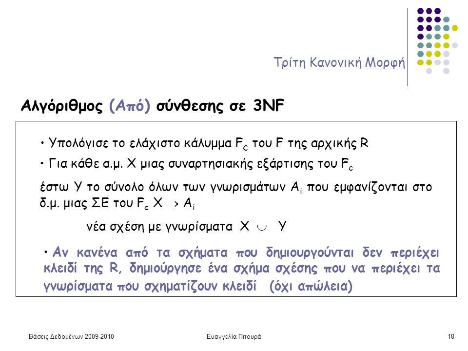 Βάσεις Δεδομένων 2009-2010Ευαγγελία Πιτουρά18 Τρίτη Κανονική Μορφή Αλγόριθμος (Από) σύνθεσης σε 3NF Υπολόγισε το ελάχιστο κάλυμμα F c του F της αρχική