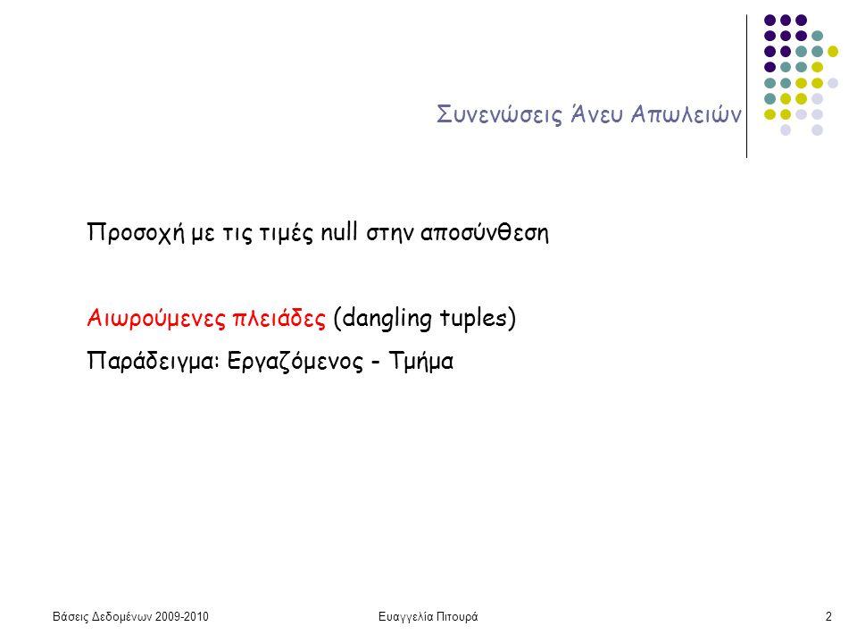 Βάσεις Δεδομένων 2009-2010Ευαγγελία Πιτουρά2 Συνενώσεις Άνευ Απωλειών Προσοχή με τις τιμές null στην αποσύνθεση Αιωρούμενες πλειάδες (dangling tuples) Παράδειγμα: Εργαζόμενος - Τμήμα