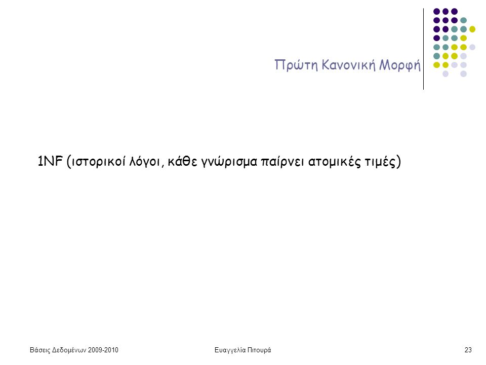 Βάσεις Δεδομένων 2009-2010Ευαγγελία Πιτουρά23 Πρώτη Κανονική Μορφή 1NF (ιστορικοί λόγοι, κάθε γνώρισμα παίρνει ατομικές τιμές)