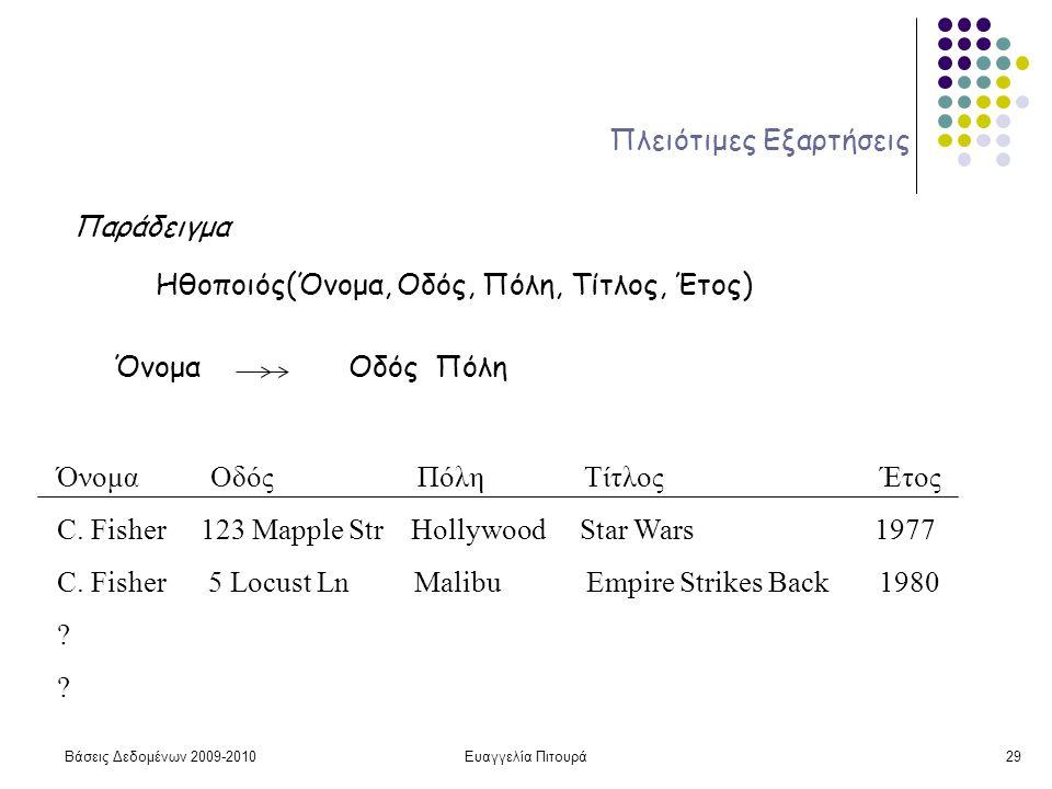 Βάσεις Δεδομένων 2009-2010Ευαγγελία Πιτουρά29 Πλειότιμες Εξαρτήσεις Παράδειγμα Ηθοποιός(Όνομα, Οδός, Πόλη, Τίτλος, Έτος) Όνομα Οδός Πόλη Όνομα Οδός Πό
