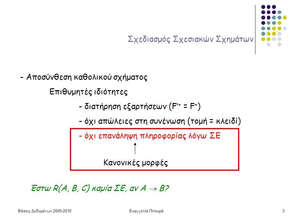 Βάσεις Δεδομένων 2009-2010Ευαγγελία Πιτουρά3 Σχεδιασμός Σχεσιακών Σχημάτων - Αποσύνθεση καθολικού σχήματος Επιθυμητές ιδιότητες - διατήρηση εξαρτήσεων (F' + = F + ) - όχι απώλειες στη συνένωση (τομή = κλειδί) - όχι επανάληψη πληροφορίας λόγω ΣΕ Κανονικές μορφές Έστω R(A, B, C) καμία ΣΕ, αν A  B