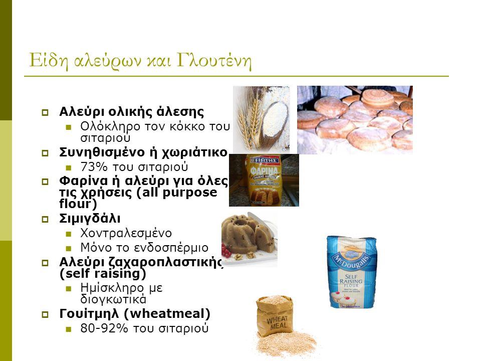 Είδη αλεύρων και Γλουτένη  Αλεύρι ολικής άλεσης Ολόκληρο τον κόκκο του σιταριού  Συνηθισμένο ή χωριάτικο 73% του σιταριού  Φαρίνα ή αλεύρι για όλες