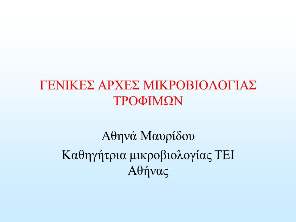 ΓΕΝΙΚΕΣ ΑΡΧΕΣ ΜΙΚΡΟΒΙΟΛΟΓΙΑΣ ΤΡΟΦΙΜΩΝ Αθηνά Μαυρίδου Καθηγήτρια μικροβιολογίας ΤΕΙ Αθήνας