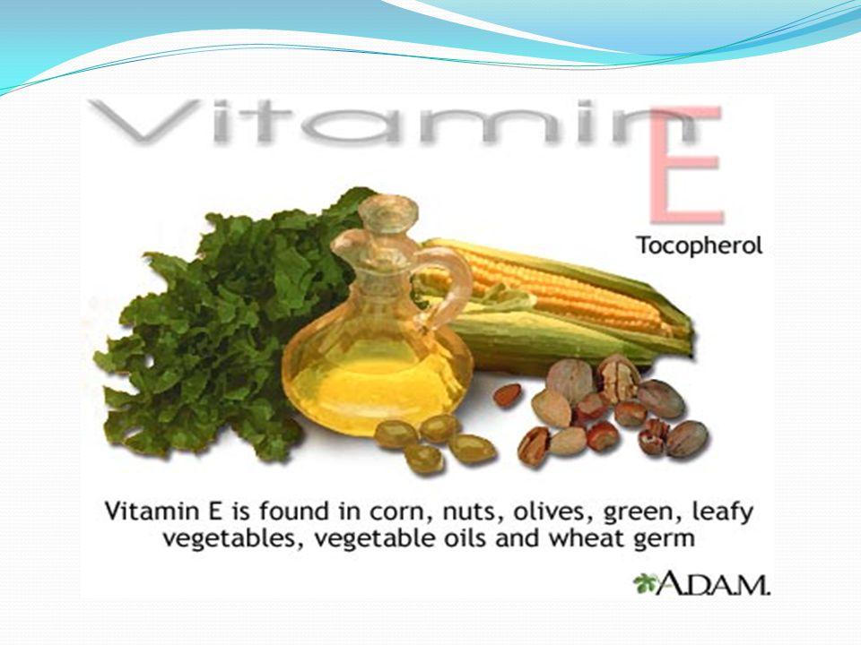 Βιταμίνη Ε ή Τοκοφερόλη Σε τι χρησιμεύει: Η βιταμίνη Ε θεωρείται η βιταμίνη της νεότητας. 1)Βοηθά στην παραγωγή ερυθρών αιμοσφαιρίων 2) Έχει αντιοξειδ