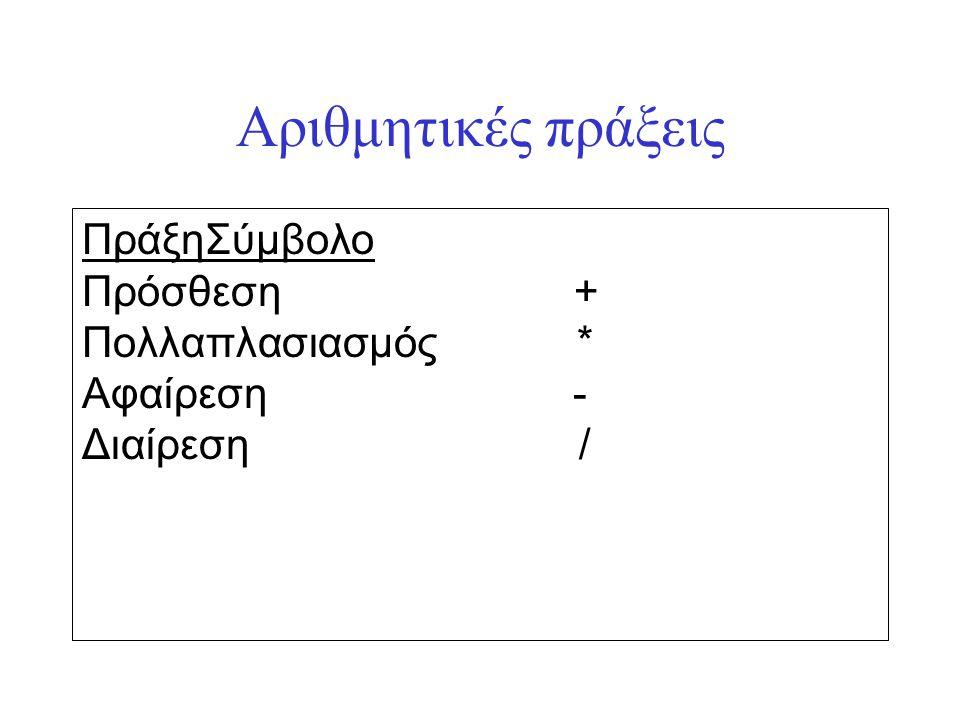 Παρουσίαση αλγορίθμου έχοντας αριθμήσει τις εκτελέσιμες εντολές του: Βήμα Αλγόριθμος Υπολογισμός_Παράστασης(πραγματικός χ,y) Δεδομένα χ Αποτελέσματα y Πραγματικός Α,Β αρχή 1.