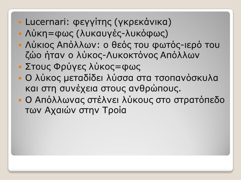 Lucernari: φεγγίτης (γκρεκάνικα) Λύκη=φως (λυκαυγές-λυκόφως) Λύκιος Απόλλων: ο θεός του φωτός-ιερό του ζώο ήταν ο λύκος-Λυκοκτόνος Απόλλων Στους Φρύγε
