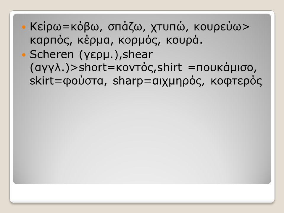 Κείρω=κόβω, σπάζω, χτυπώ, κουρεύω> καρπός, κέρμα, κορμός, κουρά. Scheren (γερμ.),shear (αγγλ.)>short=κοντός,shirt =πουκάμισο, skirt=φούστα, sharp=αιχμ