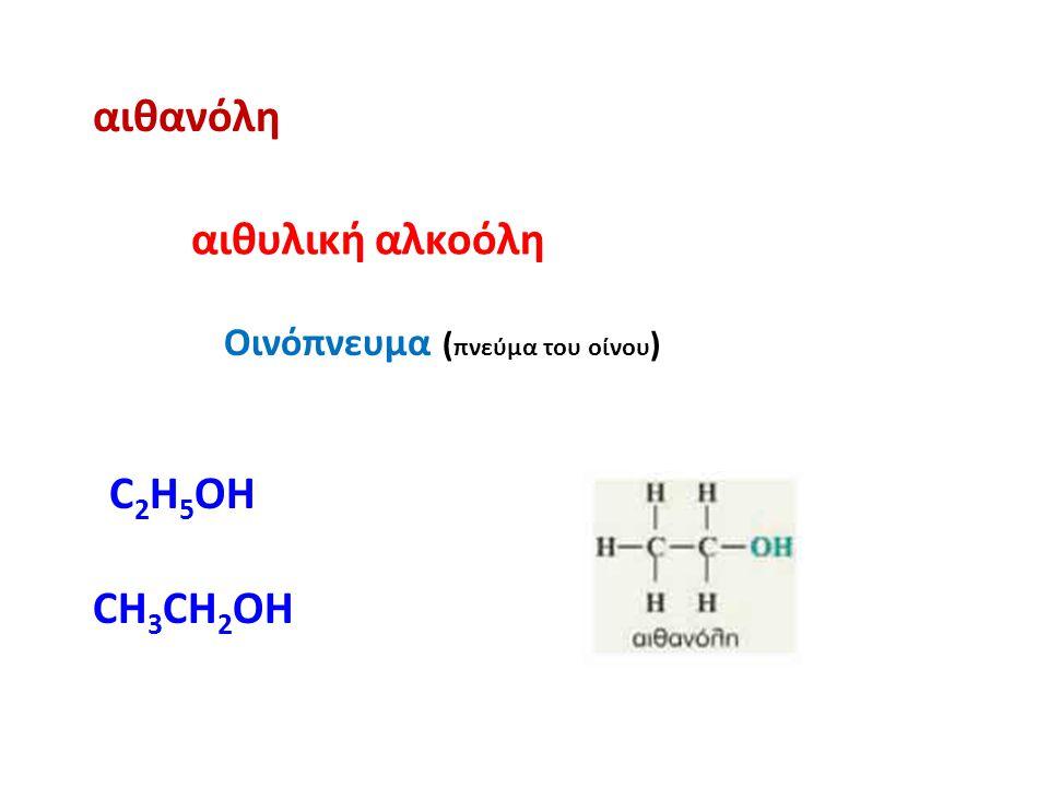 αιθανόλη αιθυλική αλκοόλη Οινόπνευμα ( πνεύμα του οίνου ) CH 3 CH 2 OH C 2 H 5 OH