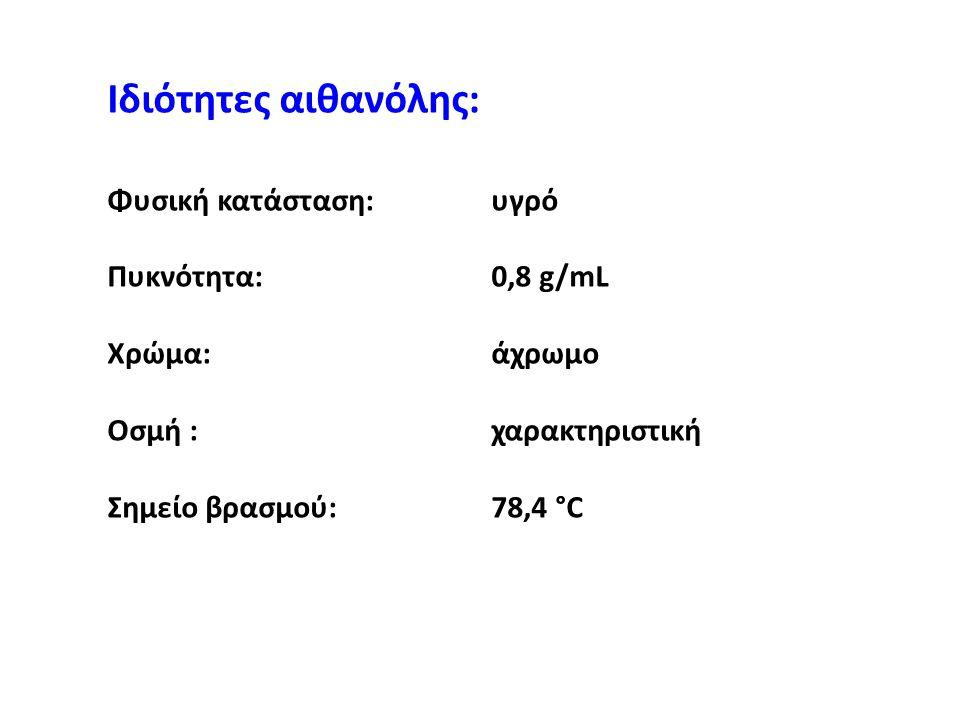Ιδιότητες αιθανόλης: Φυσική κατάσταση:υγρό Πυκνότητα:0,8 g/mL Χρώμα: άχρωμο Οσμή :χαρακτηριστική Σημείο βρασμού:78,4 °C