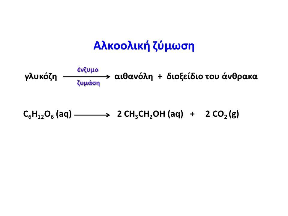 Αλκοολική ζύμωση γλυκόζη αιθανόλη + διοξείδιο του άνθρακα C 6 H 12 O 6 (aq) 2 CH 3 CH 2 OH (aq) + 2 CO 2 (g) ένζυμοζυμάση