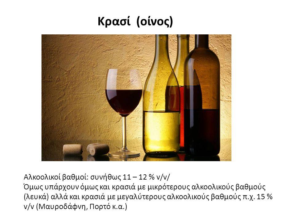 Κρασί (οίνος) Αλκοολικοί βαθμοί: συνήθως 11 – 12 % v/v/ Όμως υπάρχουν όμως και κρασιά με μικρότερους αλκοολικούς βαθμούς (λευκά) αλλά και κρασιά με μεγαλύτερους αλκοολικούς βαθμούς π.χ.