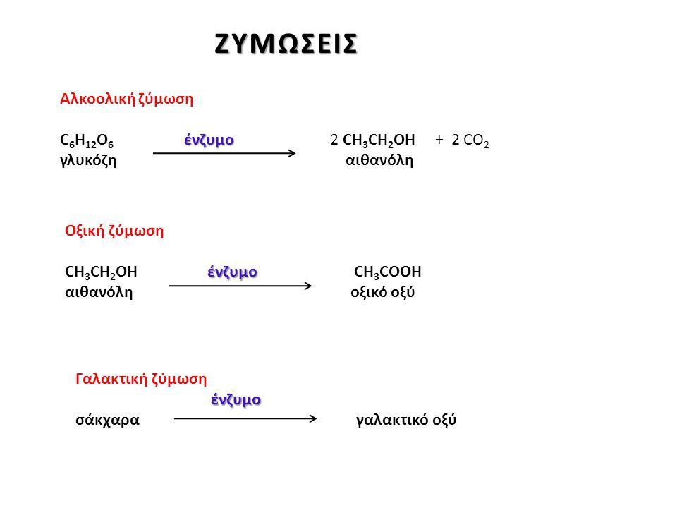 Αλκοολική ζύμωση ένζυμο C 6 H 12 O 6 ένζυμο 2 CH 3 CH 2 OH + 2 CO 2 γλυκόζη αιθανόλη Οξική ζύμωση ένζυμο CH 3 CH 2 OH ένζυμο CH 3 CΟOH αιθανόλη οξικό οξύ Γαλακτική ζύμωσηένζυμο σάκχαρα γαλακτικό οξύ ΖΥΜΩΣΕΙΣ ΖΥΜΩΣΕΙΣ