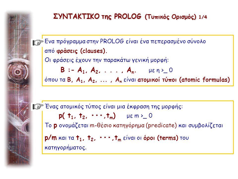 0 όρος (term) μπορεί να είναι: 1.μια σταθερά (constant), 2.μια μεταβλητή (variable) ή 3.μια έκφραση της μορφής: f( t 1, t 2,..., t k ) με k > 0 ΣΥΝΤΑΚΤΙΚΟ της PROLOG (Τυπικός Ορισμός) 2/4 Η έκφραση f( t1, t2,..., tk) ονομάζεται συναρτησιακός όρος (functional term) Τα ορίσματα t 1, t 2....