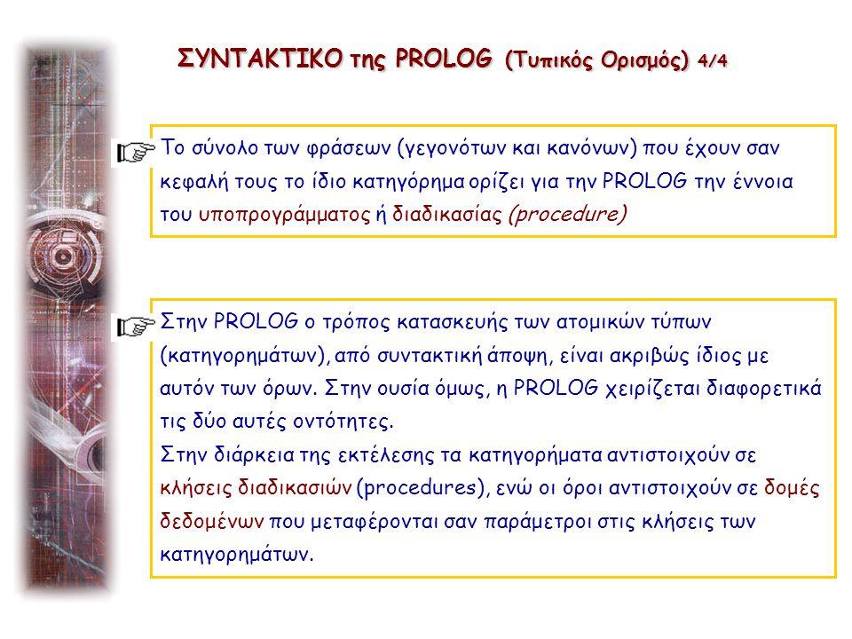 Το σύνολο των φράσεων (γεγονότων και κανόνων) που έχουν σαν κεφαλή τους το ίδιο κατηγόρημα ορίζει για την PROLOG την έννοια του υποπρογράμματος ή διαδ