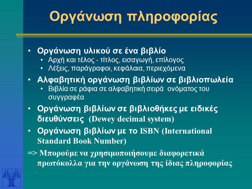 Οργάνωση πληροφορίας Οργάνωση υλικού σε ένα βιβλίο Αρχή και τέλος - τίτλος, εισαγωγή, επίλογος Λέξεις, παράγραφοι, κεφάλαια, περιεχόμενα Αλφαβητική ορ