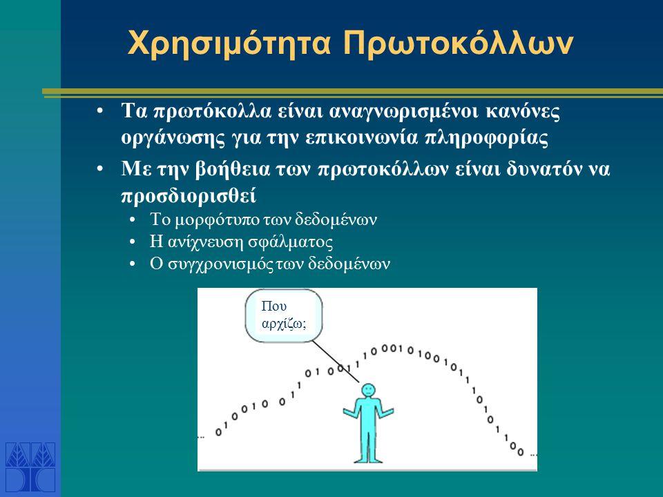 Χρησιμότητα Πρωτοκόλλων Τα πρωτόκολλα είναι αναγνωρισμένοι κανόνες οργάνωσης για την επικοινωνία πληροφορίας Με την βοήθεια των πρωτοκόλλων είναι δυνα