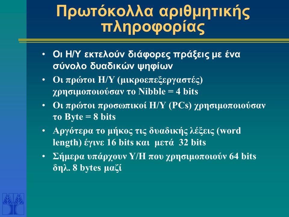 Πρωτόκολλα αριθμητικής πληροφορίας Οι Η/Υ εκτελούν διάφορες πράξεις με ένα σύνολο δυαδικών ψηφίων Οι πρώτοι Η/Υ (μικροεπεξεργαστές) χρησιμοποιούσαν το