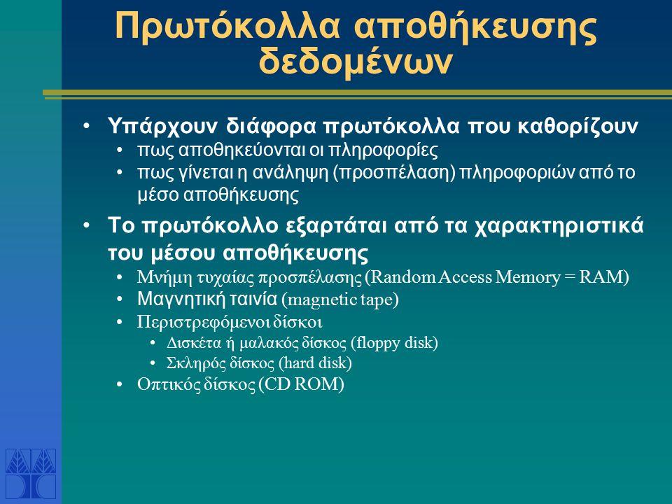 Πρωτόκολλα αποθήκευσης δεδομένων Υπάρχουν διάφορα πρωτόκολλα που καθορίζουν πως αποθηκεύονται οι πληροφορίες πως γίνεται η ανάληψη (προσπέλαση) πληροφ