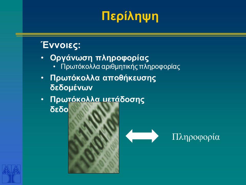 Περίληψη Έννοιες: Οργάνωση πληροφορίας Πρωτόκολλα αριθμητικής πληροφορίας Πρωτόκολλα αποθήκευσης δεδομένων Πρωτόκολλα μετάδοσης δεδομένων Πληροφορία