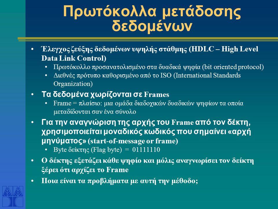 Πρωτόκολλα μετάδοσης δεδομένων Έλεγχος ζεύξης δεδομένων υψηλής στάθμης (HDLC – High Level Data Link Control) Πρωτόκολλο προσανατολισμένο στα δυαδικά ψ
