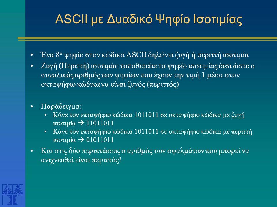 ASCII με Δυαδικό Ψηφίο Ισοτιμίας Ένα 8 ο ψηφίο στον κώδικα ASCII δηλώνει ζυγή ή περιττή ισοτιμία Ζυγή (Περιττή) ισοτιμία: τοποθετείτε το ψηφίο ισοτιμί