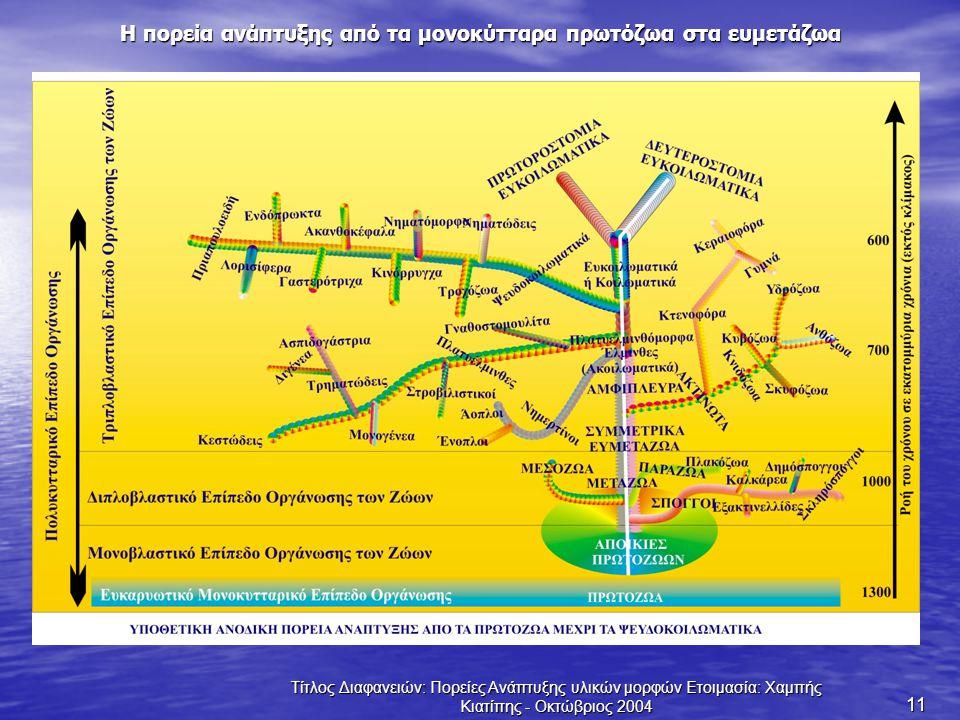 Τίτλος Διαφανειών: Πορείες Ανάπτυξης υλικών μορφών Ετοιμασία: Χαμπής Κιατίπης - Οκτώβριος 2004 11 Η πορεία ανάπτυξης από τα μονοκύτταρα πρωτόζωα στα ε