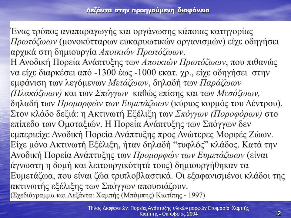 Τίτλος Διαφανειών: Πορείες Ανάπτυξης υλικών μορφών Ετοιμασία: Χαμπής Κιατίπης - Οκτώβριος 2004 12 Λεζάντα στην προηγούμενη διαφάνεια