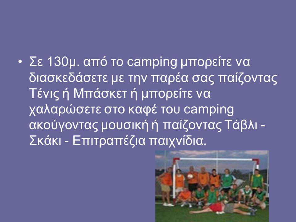 Σε 130μ. από το camping μπορείτε να διασκεδάσετε με την παρέα σας παίζοντας Τένις ή Μπάσκετ ή μπορείτε να χαλαρώσετε στο καφέ του camping ακούγοντας μ