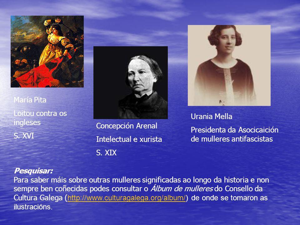 María Pita Loitou contra os ingleses S. XVI Concepción Arenal Intelectual e xurista S.