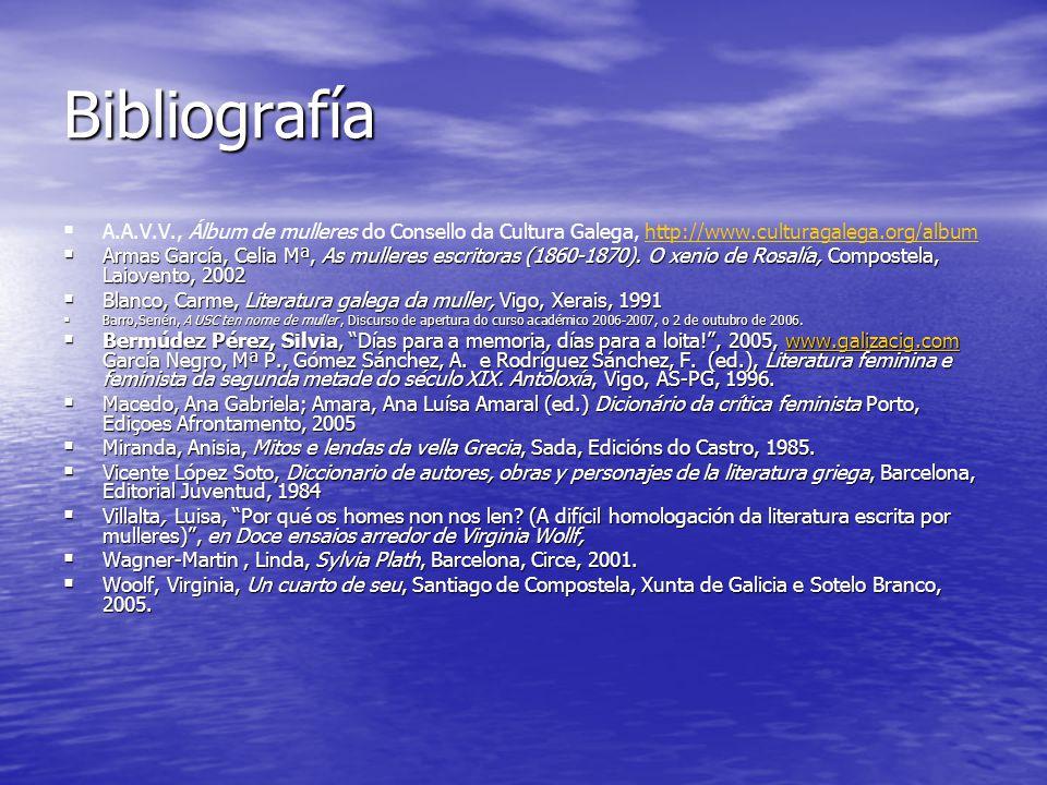 Bibliografía   A.A.V.V., Álbum de mulleres do Consello da Cultura Galega, http://www.culturagalega.org/albumhttp://www.culturagalega.org/album  Armas García, Celia Mª, As mulleres escritoras (1860-1870).