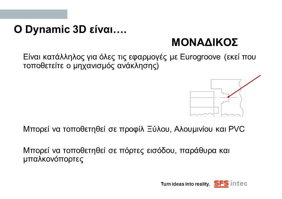 Turn ideas into reality. Ο Dynamic 3D είναι…. ΜΟΝΑΔΙΚΟΣ Είναι κατάλληλος για όλες τις εφαρμογές με Eurogroove (εκεί που τοποθετείτε ο μηχανισμός ανάκλ