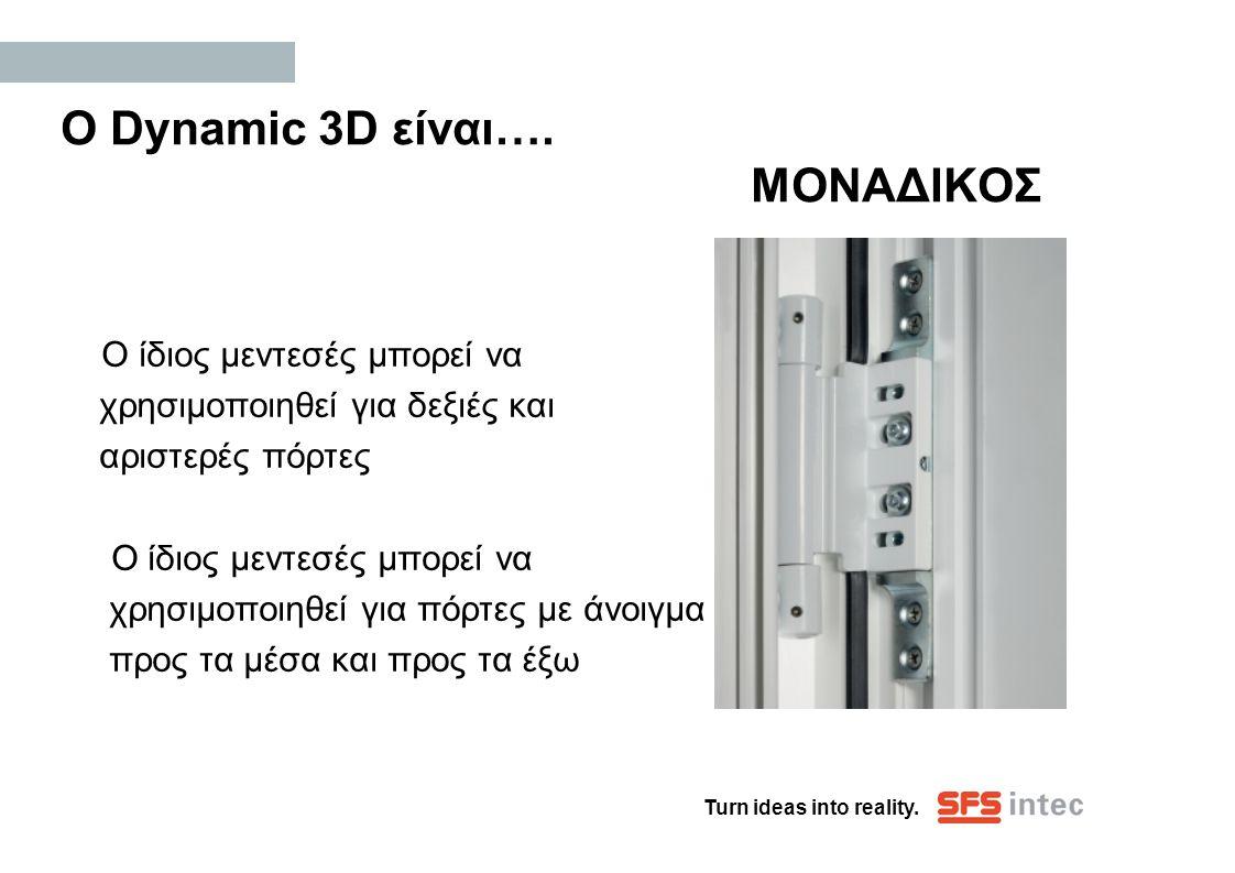 Turn ideas into reality. Ο Dynamic 3D είναι…. ΜΟΝΑΔΙΚΟΣ Ο ίδιος μεντεσές μπορεί να χρησιμοποιηθεί για δεξιές και αριστερές πόρτες Ο ίδιος μεντεσές μπο