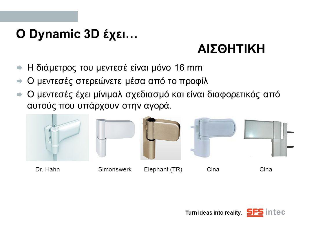 Turn ideas into reality. Ο Dynamic 3D έχει… ΑΙΣΘΗΤΙΚΗ  Η διάμετρος του μεντεσέ είναι μόνο 16 mm  Ο μεντεσές στερεώνετε μέσα από το προφίλ  Ο μεντεσ