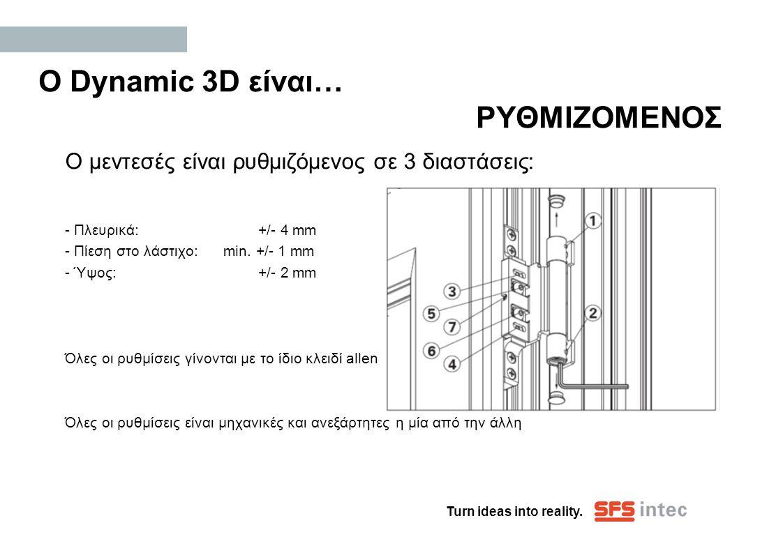 Turn ideas into reality. Ο Dynamic 3D είναι… ΡΥΘΜΙΖΟΜΕΝΟΣ Ο μεντεσές είναι ρυθμιζόμενος σε 3 διαστάσεις: - Πλευρικά: +/- 4 mm - Πίεση στο λάστιχο: min