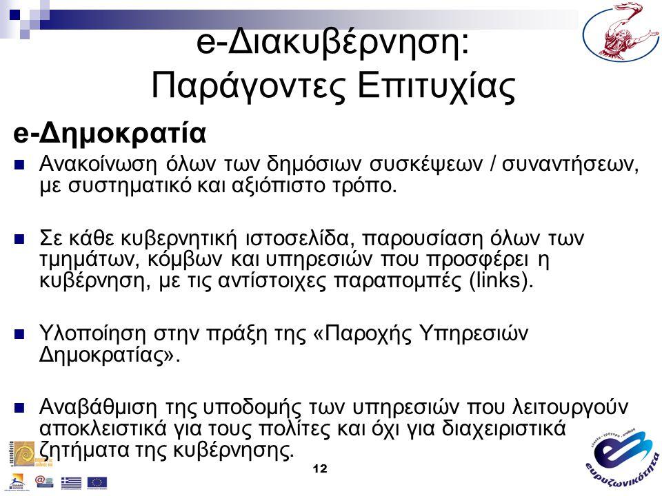 12 e-Διακυβέρνηση: Παράγοντες Επιτυχίας e-Δημοκρατία Ανακοίνωση όλων των δημόσιων συσκέψεων / συναντήσεων, με συστηματικό και αξιόπιστο τρόπο. Σε κάθε