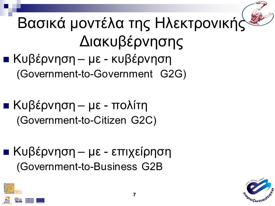 7 Βασικά μοντέλα της Ηλεκτρονικής Διακυβέρνησης Κυβέρνηση – με - κυβέρνηση (Government-to-Government G2G) Κυβέρνηση – με - πολίτη (Government-to-Citiz