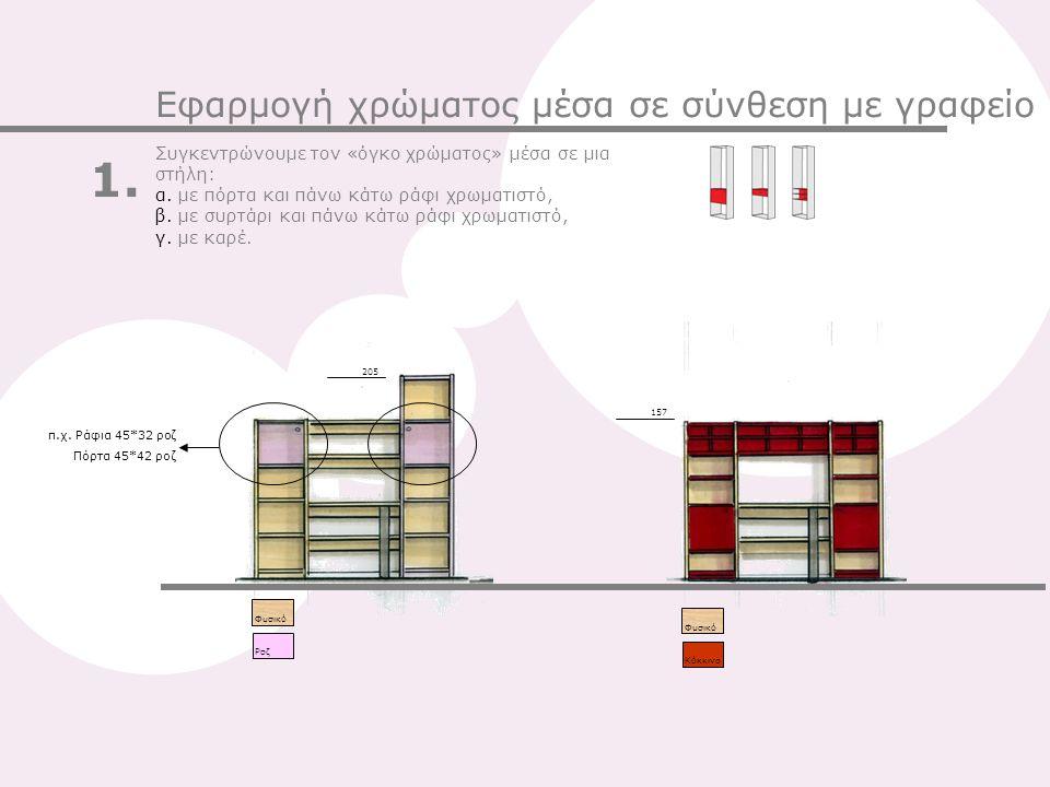 157 205 Φυσικό ΚόκκινοPοζ Φυσικό Συγκεντρώνουμε τον «όγκο χρώματος» μέσα σε μια στήλη: α. με πόρτα και πάνω κάτω ράφι χρωματιστό, β. με συρτάρι και πά