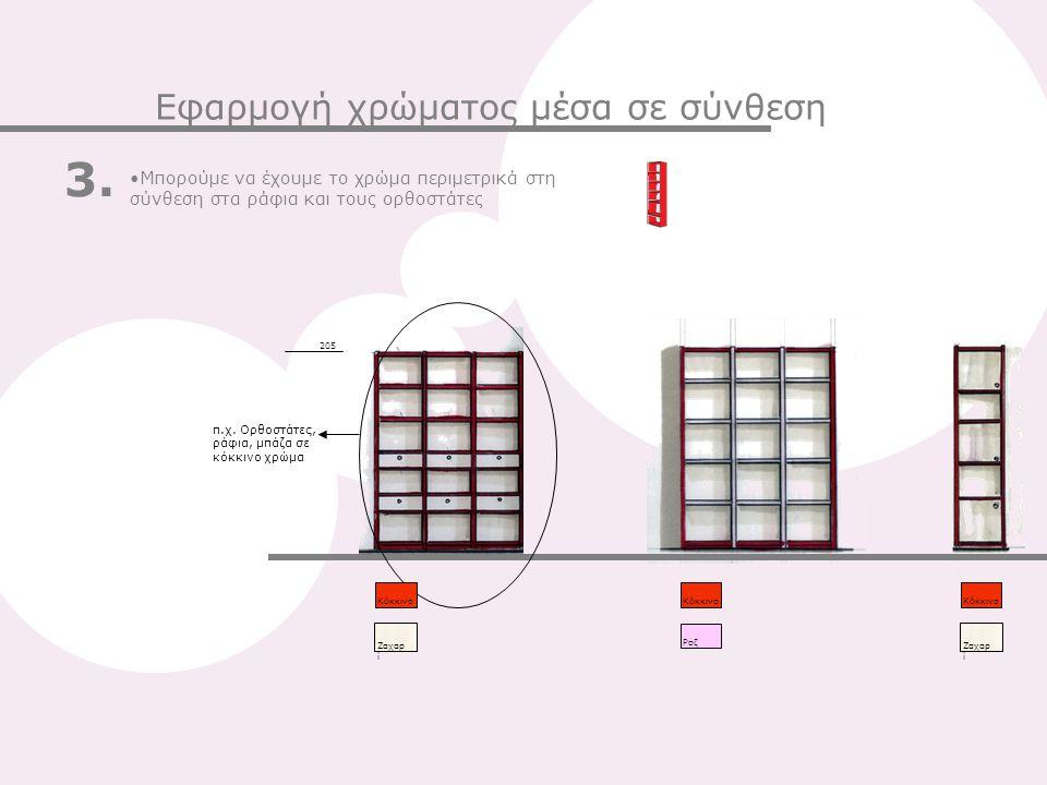 Ζαχαρ ί Κόκκινο 205 Μπορούμε να έχουμε το χρώμα περιμετρικά στη σύνθεση στα ράφια και τους ορθοστάτες 3. Εφαρμογή χρώματος μέσα σε σύνθεση π.χ. Ορθοστ