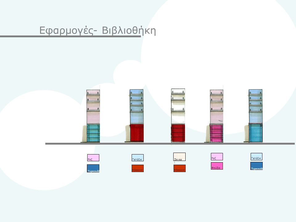 Εφαρμογές- Βιβλιοθήκη Pοζ Τυρκουάζ ΓαλάζιοPοζΦούξιαΚόκκινο Ζαχαρ ί ΓαλάζιοΚόκκινο Τυρκουάζ