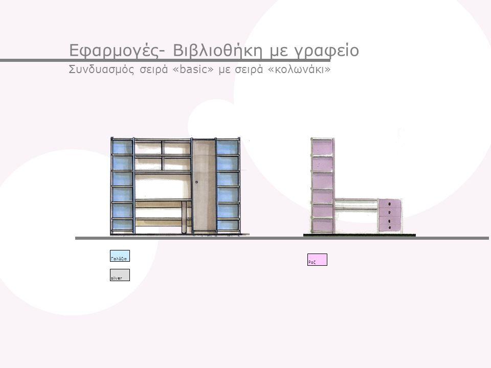 Εφαρμογές- Βιβλιοθήκη με γραφείο Συνδυασμός σειρά «basic» με σειρά «κολωνάκι» ΓαλάζιοsilverPοζ
