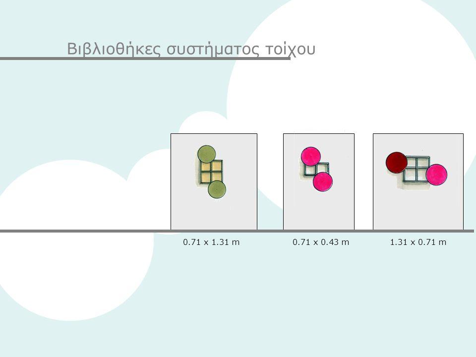 Βιβλιοθήκες συστήματος τοίχου 0.71 x 1.31 m0.71 x 0.43 m1.31 x 0.71 m