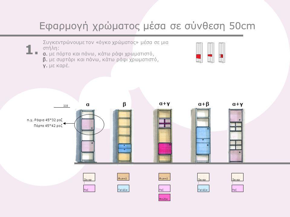 Ζαχαρ ί Pοζ Ζαχαρ ί Γαλάζιο Ζαχαρ ί PοζΓαλάζιοΦούξιαPοζ 205 Φυσικό Εφαρμογή χρώματος μέσα σε σύνθεση 50cm Συγκεντρώνουμε τον «όγκο χρώματος» μέσα σε μια στήλη: α.