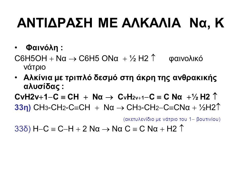 ΑΝΤΙΔΡΑΣΗ ΜΕ ΑΛΚΑΛΙΑ Να, Κ Φαινόλη : C6H5OH  Nα  C6H5 OΝα  ½ Η2  φαινολικό νάτριο Αλκίνια με τριπλό δεσμό στη άκρη της ανθρακικής αλυσίδας : CνH2v
