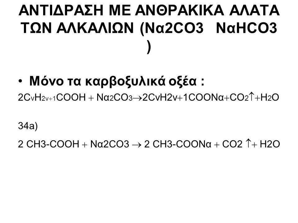 ΑΝΤΙΔΡΑΣΗ ΜΕ ΑΝΘΡΑΚΙΚΑ ΑΛΑΤΑ ΤΩΝ ΑΛΚΑΛΙΩΝ (Να2CO3 NαΗCO3 ) Μόνο τα καρβοξυλικά οξέα : 2C ν H 2v  1 COOH  Να 2 CO 3  2CνH2v  1COONα  CO 2  Η 2