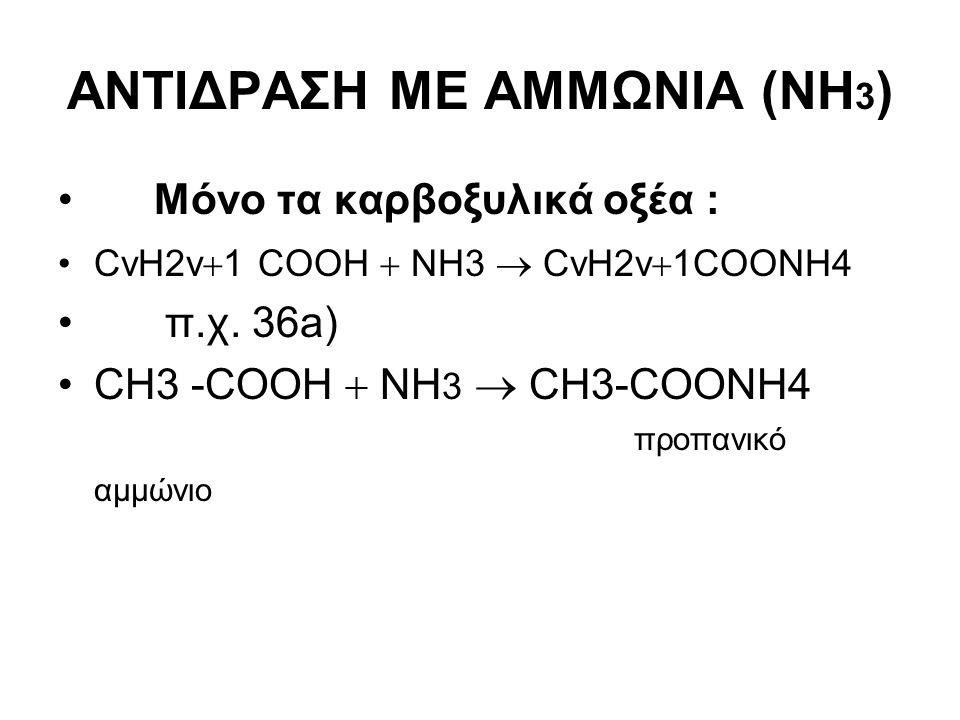 ΑΝΤΙΔΡΑΣΗ ΜΕ ΑΜΜΩΝΙΑ (ΝΗ 3 ) Μόνο τα καρβοξυλικά οξέα : CνH2v  1 COOH  ΝΗ3  CνH2v  1COONΗ4 π.χ. 36a) CH3 -COOH  ΝΗ 3  CH3-COONΗ4 προπανικό αμμών