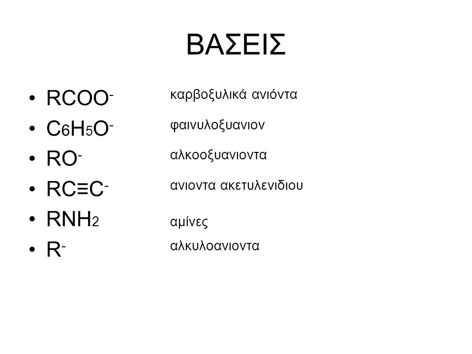 BAΣΕΙΣ RCOO - καρβοξυλικά ανιόντα C 6 H 5 O - φαινυλοξυανιον RO -αλκοοξυανιοντα RC≡C -ανιοντα ακετυλενιδιου RNH 2αμίνες R -αλκυλοανιοντα