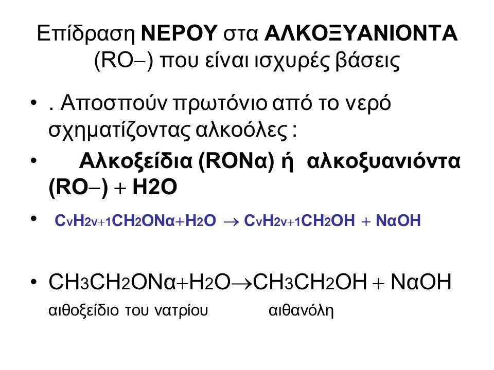 Επίδραση ΝΕΡΟΥ στα ΑΛΚΟΞΥΑΝΙΟΝΤΑ (RO  ) που είναι ισχυρές βάσεις. Αποσπούν πρωτόνιο από το νερό σχηματίζοντας αλκοόλες : Αλκοξείδια (RONα) ή αλκοξυαν