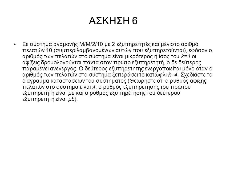 ΑΣΚΗΣΗ 6 Σε σύστημα αναμονής Μ/Μ/2/10 με 2 εξυπηρετητές και μέγιστο αριθμό πελατών 10 (συμπεριλαμβανομένων αυτών που εξυπηρετούνται), εφόσον ο αριθμός